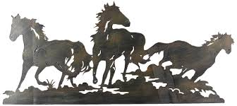 surprising ideas horse metal wall art new trends com young s laser cut triple 27 5 inch home kitchen 3d broncing