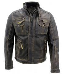 mens vintage black warm leather retro biker jacket