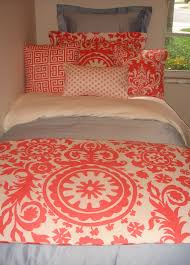 Dorm Bedding Decor Navy Quatrefoil Coral Damask Designer Dorm Bedding Set