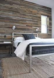 back wall is so interesting log cabin like w modern bed simple but
