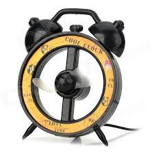 fan clock. alarm clock style usb powered 2-blade fan - black + yellow