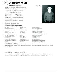Theatre Resume Sample Best of Sample Audition Resume Ncer Resume Examples Nce Example Audition