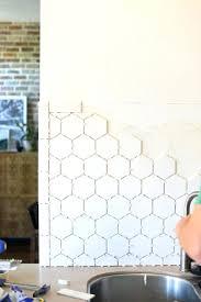 white hexagon tile 6 honeycomb backsplash large in the kitchen