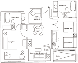 Doubletree Gallery One Suite Floorplan For 2 Bed.