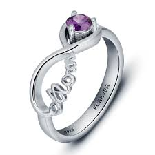 infinity mothers ring. sterling silver mom infinity mothers ring with custom birthstone and inner engraving 2