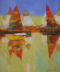 saatchi art sail boats abstract original oil painting palette knife art painting by vahe yeremyan
