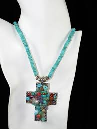 turquoise heishi w multi stone cross necklace