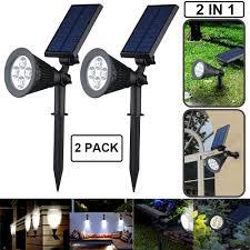 2x 250 lumen 4 leds garden lamp solar led spotlight outdoor lighting wall lights