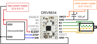 drv low voltage stepper motor driver carrier minimal wiring diagram for connecting a microcontroller to a drv8834 stepper motor driver carrier 1 4 step mode