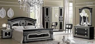 Period Bedroom Furniture Versace Design Aida 6 Item Bedroom Set In Black Silver Products