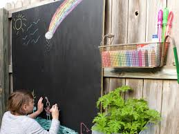 this easy outdoor chalkboard fence is a quick diy project that the kids will enjoy for a long time toddlers to tweens love drawing with chalk s too