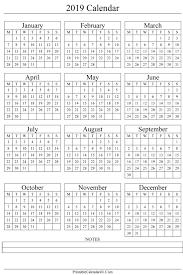 Yearly Calendar Planner Template Annual Calendar 2019 Portrait Printable Calendar 2017 2018 2019