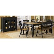 al fresco black rectangular leg dining room set
