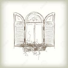 window pencil drawing. scribble vector window. drawn pencil sketch style window with shutters stock - 28140486 drawing g