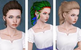 Twisted ponytail hairstyle Newsea's Leona retextured by Beaverhausen - Sims  3 Hairs