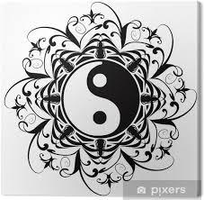 Obraz Ying Yang Tatuaggio Tetování Tatouage Okrasné Na Plátně