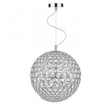 fiesta chrome and crystal glass globe ceiling pendant 5lt