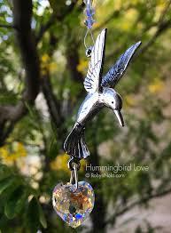 hummingbird love hummingbird sun catcher with swarovski crystal heart