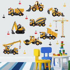 DIY <b>Excavator</b> Construction Wall <b>Decals</b> Nursery <b>Kids</b> Room PVC ...