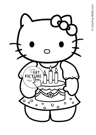 Special Color In For Kids Hello Kitty Happy Birthday Coloring Pages