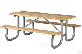 8 ft heavy duty wooden picnic table with welded galvanized steel frame