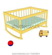vintage baby toys vintage baby crib with toys isolated side view furniture for the nursery old fashioned wooden baby toys
