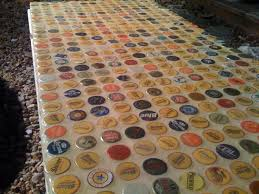 unique diy patio table top with wonder what else i could use instead of bottle caps