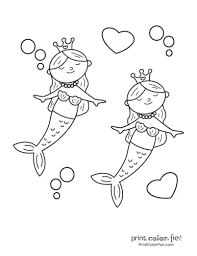 Mermaid pages you can print out and color for free! 30 Mermaid Coloring Pages Free Fantasy Printables Print Color Fun