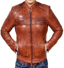 antique brown cafe racer leather jacket