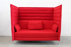High Back Sofas Pair Of Vitra Alcove Twoseat Highback Sofas In Pristine Red 6126 by guidejewelry.us