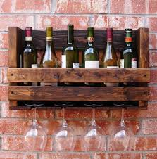 diy natural wood wall mounted wine glass rack with 4 slots holder for wine glass organizer