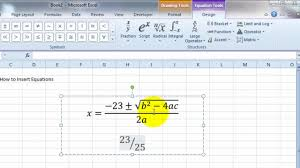 Videoexcel How To Insert Equations In Excel 2010 Youtube