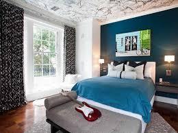 ... Bedroom Blue Color Scheme Brown Wooden Bay Windows Soft Paint Wal Glass  Bedside Table Laminate Floor