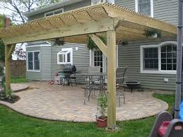 Exterior Brown Patio Umbrella With Brick Wall Fireplace And Iron