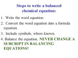 steps to write a balanced chemical equation