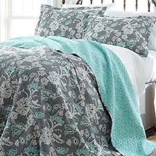 3 Piece Blue Grey White Full Queen Quilt Set, Floral Themed ... & 3 Piece Blue Grey White Full Queen Quilt Set, Floral Themed Reversible  Bedding Flower Paisley Aqua Teal Vintage Bold Boho Geometric Bohemian Chic  Stylish ... Adamdwight.com