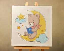 Cute <b>Cartoon Bear</b> on The Moon Canvas <b>Print</b> Nursery Wall Decor ...