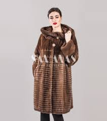 brown mink fur coat with big hood