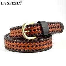 Burgundy Designer Belt La Spezia Braided Leather Belt Ladies Designer Waist Belts Burgundy Women Pin D Shape Buckle Casual Female Belt Black Brown 2019