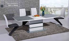 small extending grey glass high gloss dining table and 4 chairs set
