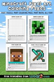 This coloring page features alex, the deuteragonist of this game. Minecraft Pixel Art Grid Coloring Pages Woo Jr Kids Activities