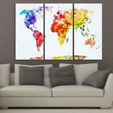colorful world map canvas print contemporary 3 panel triptych colorf extra large wall art canvas print on colorful abstract canvas wall art with colorful world map canvas print contemporary 3 panel triptych