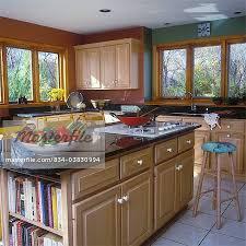 kitchen island um wood cabinets paneled doors range in