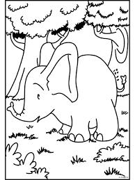Kleurplaat Olifantje In Het Bos Kleurplatennl