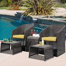 5pcs chair rattan garden furniture set dining table weave outdoor w footstools
