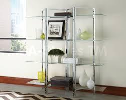 Glass Bookshelf Contemporary Chrome Glass Open Bookcase Hutches Bookcases Coa