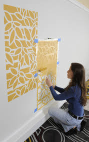 For instance, a black wall with a white stencil can look great, and so can  a gray wall with a yellow stencil. The options are endless!