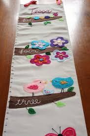 Embroidered Growth Chart Springtime Friends Fabric Growth Chart Personalized