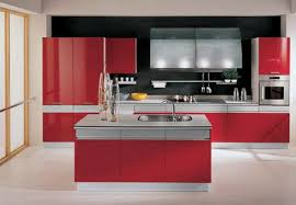 Red And Grey Kitchen Designs Deep Red Contemporary Kitchen Design Idea With Grey Floor And