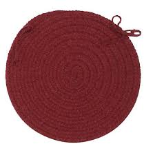 bristol wool blend round braided chair pad wl52 holly berry made in usa